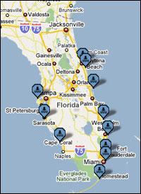 Karta Over Spaniens Vastkust.Bada I Florida