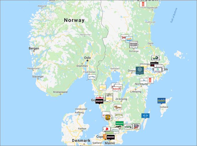 Karta över medverkande företag: Badbollsjakten 2019
