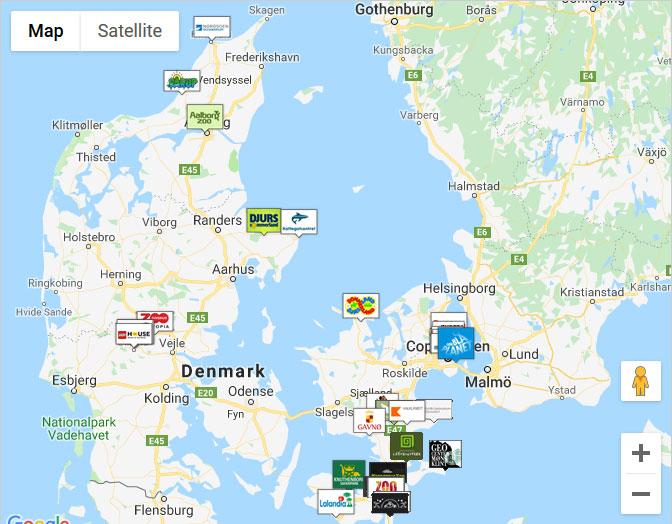 Karta över medverkande företag: Danmarksjakten 2019