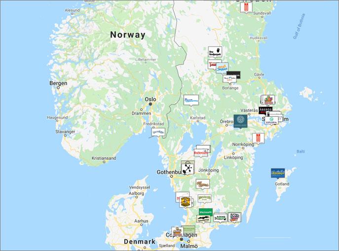 Karta över medverkande företag: Hjärtejakten 2019