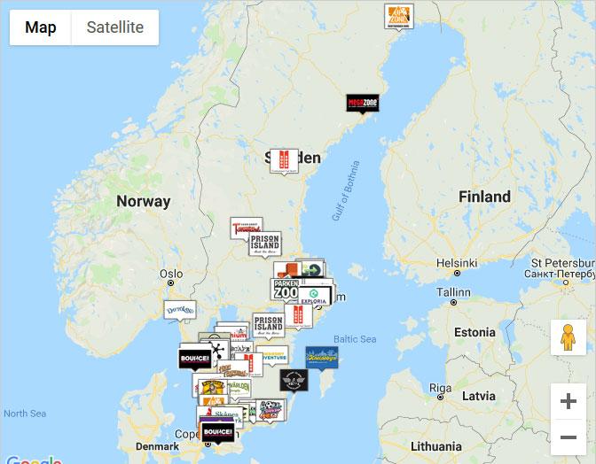Karta över medverkande företag: Soljakten 2019